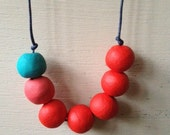 Lollipop turquoise, red, fuschia pink ceramic beads necklace