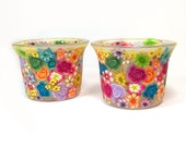 Glass candle holders, decorated with Polymer clay flowers