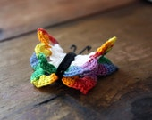 Hand Crocheted Butterfly Magnet in Primary Colors