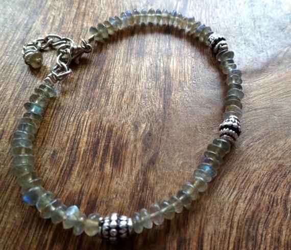 Labradorite and sterling silver bracelet. Mineral properties. handmade. Gemstone.