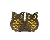 Vintage owl trivets - orange yellow metal coasters or trivets 70s autumn decor
