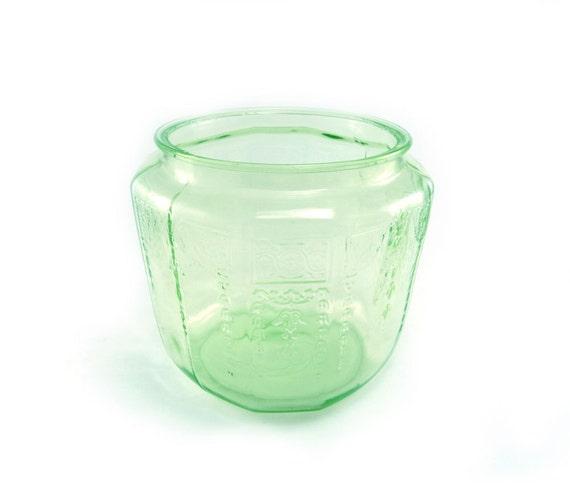 Green princess depression glass jar, vase, mint, emerald, pastel