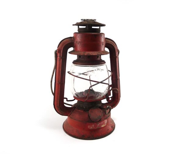 Red lantern - Dietz No 50 Comet with embossed Dietz globe rustic camping decor