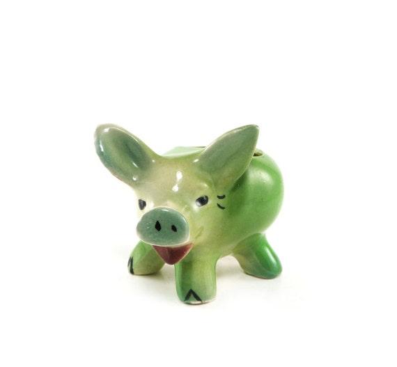 Little Green Piggy Vintage Pig Planter Ceramic Pottery