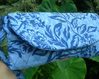Blue Floral Clutch with Matching Pocket Tissue Holder
