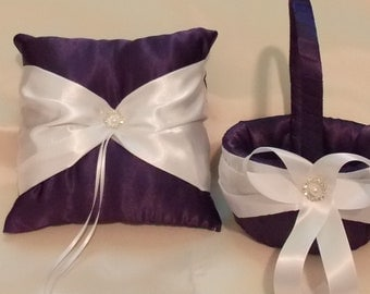 flower girl baskets and ring bearer pllow plum purple and white