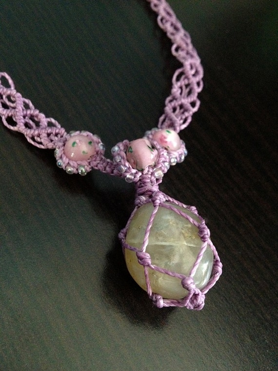 Moonstone on Lavender Handwoven Necklace