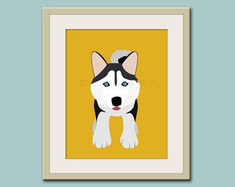 Baby nursery wall art. Siberian Husky, kids wall art. Puppy dog print nursery decor. Siberian Husky Dog print by WallFry