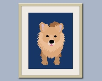 Pomeranian print dog art. Dog nursery decor. Art for children, kids decor. Custom dog art for kids. Art print by WallFry