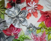 Origami Lilies and Kusudama Flowers Variety Pack of 12 Loose items with stems