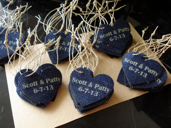 Denim Wedding Favor Personalized Heart Set Of By