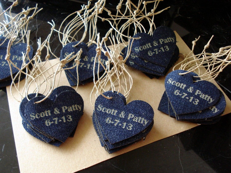 Denim Wedding Favor Personalized Heart Set Of By EtchedinTimeLLC