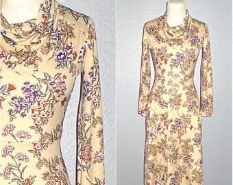 70s boho dress BEIGE FLORAL long sleeved cowl neck - S