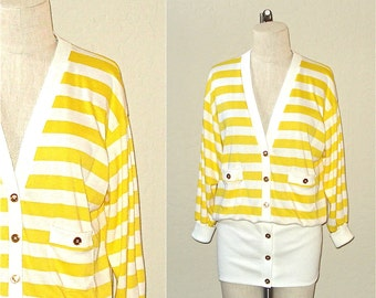 Vintage 80s hipster sweater YELLOW STRIPED long cardigan top - S/M