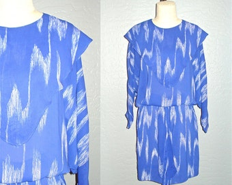 Vintage 80s dress PERIWINKLE ABSTRACT brushed print flowy - M/L