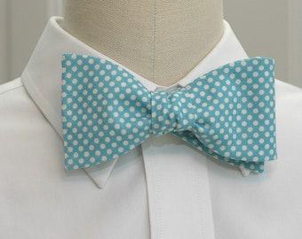 Men's Bow Tie in Carolina blue and white mini polka dots (self-tie)