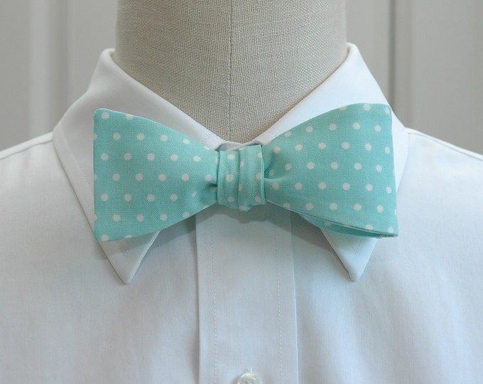 Men's Bow Tie, aqua with small white polka dots, wedding bow tie, groom bow tie, groomsmen gift, pale blue bow tie, Easter bow tie, prom tie