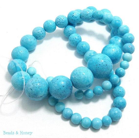 Sponge Coral, Light Blue Round, Graduated, Smooth Beads, 6-16mm, Large, Full 20 Inch Strand  - ID 1077