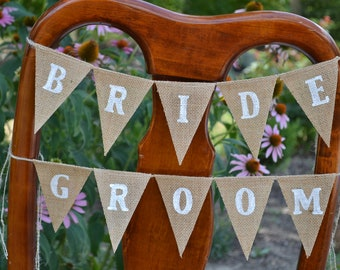 Chair banner  ...  Bride and Groom  ..   Burlap Banner  ...  Reception decoration