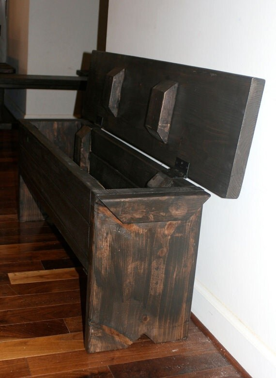 4 foot bench with storage by modernrust on etsy Narrow entry bench