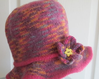 On sale - Girls Felted Wool Hat in Pink and Lavender with Floppy Brim