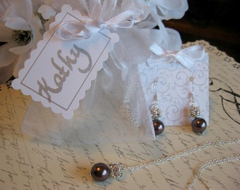 Swarovski Burgundy Large  Pearl and Rhinestone Necklace and Earring Set - Personalized Bridesmaid Pearl Jewelry Set/Wedding Jewelry