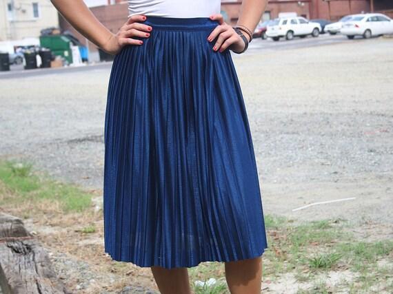 Shimmering Sapphire Pleated Skirt