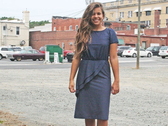 Navy White Polka Dot Dress with ruffle