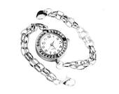 Get 15% OFF - Gift under 30 -  Handmade Lady Fashion Silver Quartz Bracelet Watch - Halloween SALE 2015