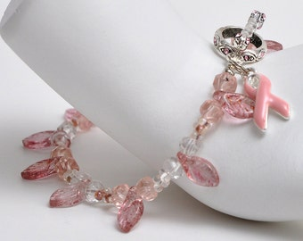 Pink Crystal Faceted Awareness Bracelet - Breast Cancer Awareness