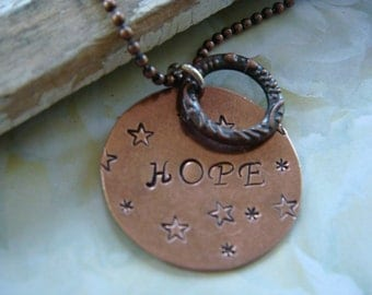 Inspirational HOPE Copper Necklace