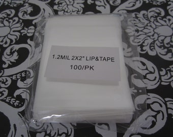 "100 Cellophane bags 2"" X 2"" lip and tape resealable cello bags. Great for Jewelry, or and small treasure"
