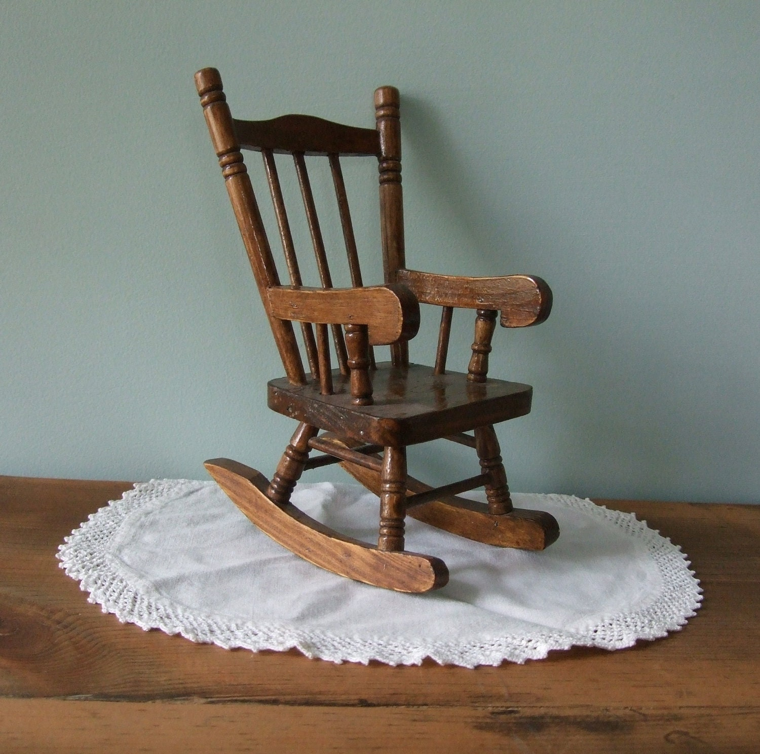 Rocking Chair Wooden Miniature Doll House Rustic Decor