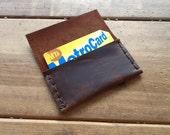 Leather ID holder - card wallet, man wallet, leather card case, slim brown leather wallet, minimalist wallet man