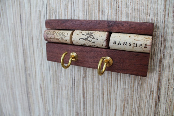 Wine Cork Wall Hanger - reclaimed wood key holder - his & her hooks - ecofriendly home decor