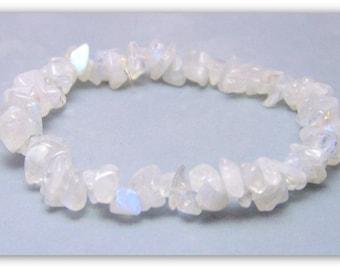 Stretch Bracelet - Gemstone Bracelet - Rainbow Moonstone Bracelet, Rainbow Moonstone Chips, Bead Bracelet, Gemstone Jewelry