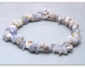 Stretch Bracelet - Gemstone Bracelet - Blue Chalcedony Bracelet, Blue Chalcedony Chips, Bead Bracelet, Gemstone Jewelry