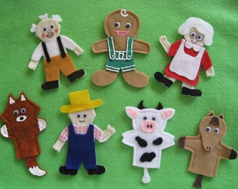 Handcrafted Felt Finger Puppets to accompany the Gingerbread Man Story