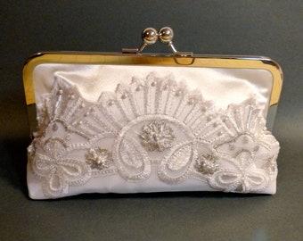 Bridal Clutch | Wedding Clutch | Embroidered Organza Lace | Pearl Fan | Ivory Clutch