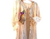 Lovely Cotton Long Jacket White/Ecru Romantic Boho Folk Gipsy Hippi Rustic Ethno .. Vintage