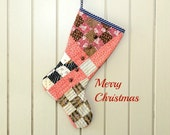 Christmas Stocking, Vintage Quilt, 19th Cent. Quilt, Double Pinks, Civil War Era Fabric, Leather Buttons, Guy's Stocking Tailored