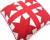 Retro Pillow Cover, 19 In. Vintage 1920s Quilt, 8-Point Star Design Solid Red, Early Floral Print on White, Large Red &White Striped Piping