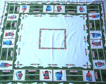 Vintage Printed Tablecloth, Mid Century, Curry & Spices Theme, Green, White, Aqua, Coral Red, 44 x 53, Excellent Vintage Condition