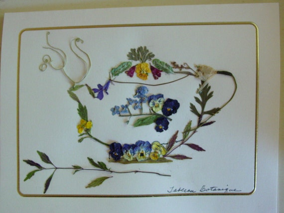 Real Pressed Flower Card Tea Pot Blank Card Greeting Card Handmade Card -  Pansy - Forget Me Nots
