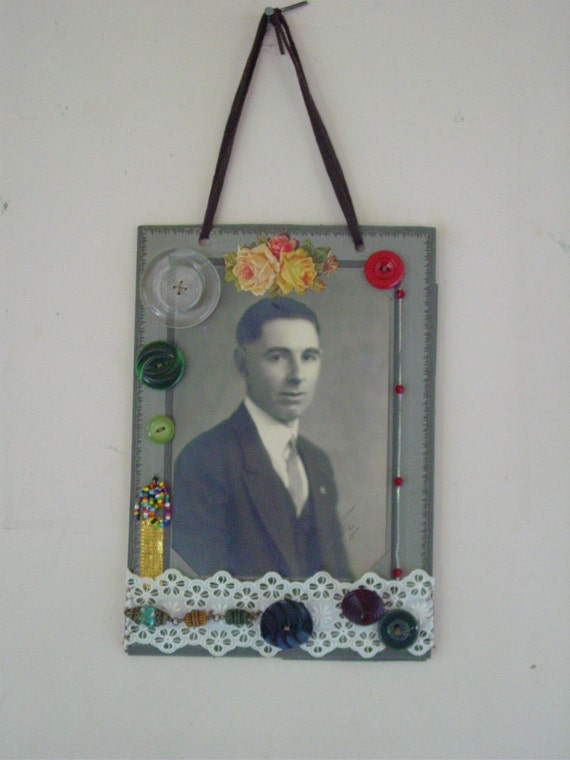 Mixed Media Collage Assemblage Altered Art Photo Collage Man of San Francisco California - Buttons , Beads  , Lace Hanging