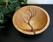 RESERVED for Jen -Wooden Bowl, Rising Tree, Wedding Gift,  Salad Bowl, Beech Wood, Pyrography, Woodburning