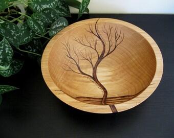 Wooden Bowl- Rising Tree, Wedding Gift,  Salad Bowl, Beech Wood, Pyrography, Woodburning