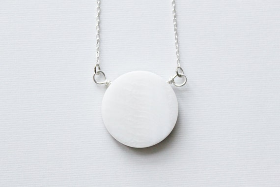 Full Moon / New Moon Reversable Necklace --- a mother of pearl pendant on a delicate chain