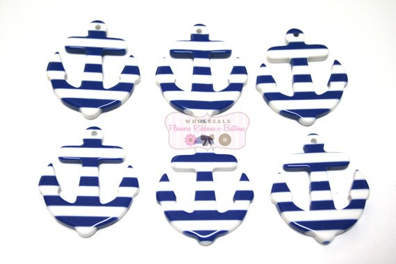 45 X 38mm Blue and White Anchor - Qty 4