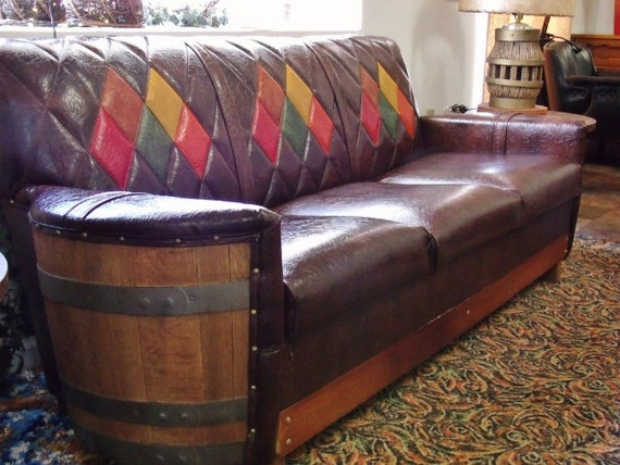 Five Piece Wooden Barrel Western Livingroom Furniture
